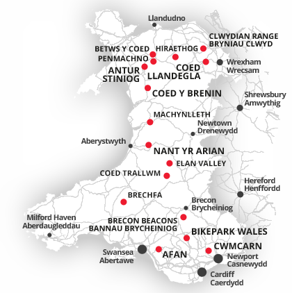 Mountain Bike Wales Centres and Bases
